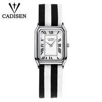 CADISEN Women Watches Super Slim Stripes Fabric Square cartier top Brand Luxury Casual Clock Ladies Wrist Watch Relogio Feminino