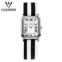 CADISEN Women Watches Super Slim Stripes Fabric Square cartier top Brand Luxury Casual Clock Ladies Wrist Watch Relogio Feminino
