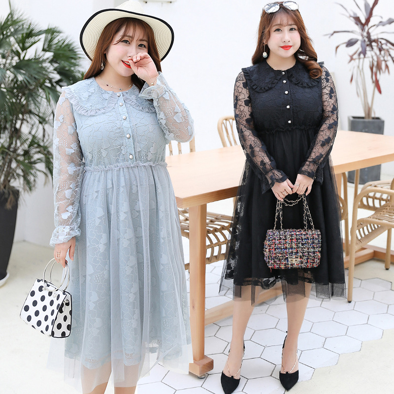 2019 Early Autumn New Products Plus-sized WOMEN'S Dress Fat Mm Slimming Sweet Lace Dress A Generation Of Fat 1680