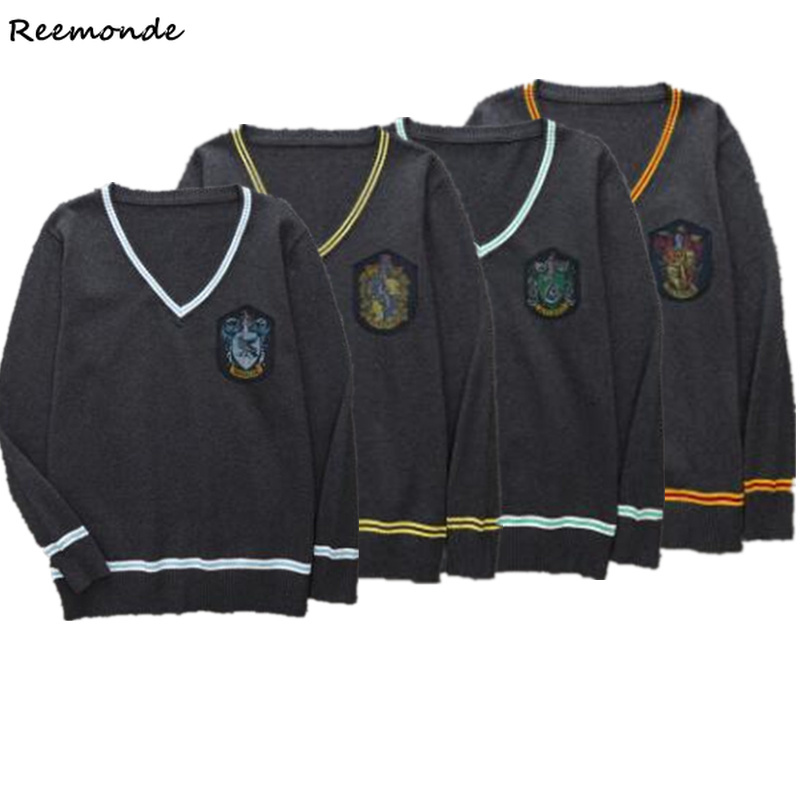 Gryffindor Sweater Slytherin Ravenclaw Sweater Hufflepuff Clothes V Neck Tops Hogwarts School Uniform Hermione Granger Costume