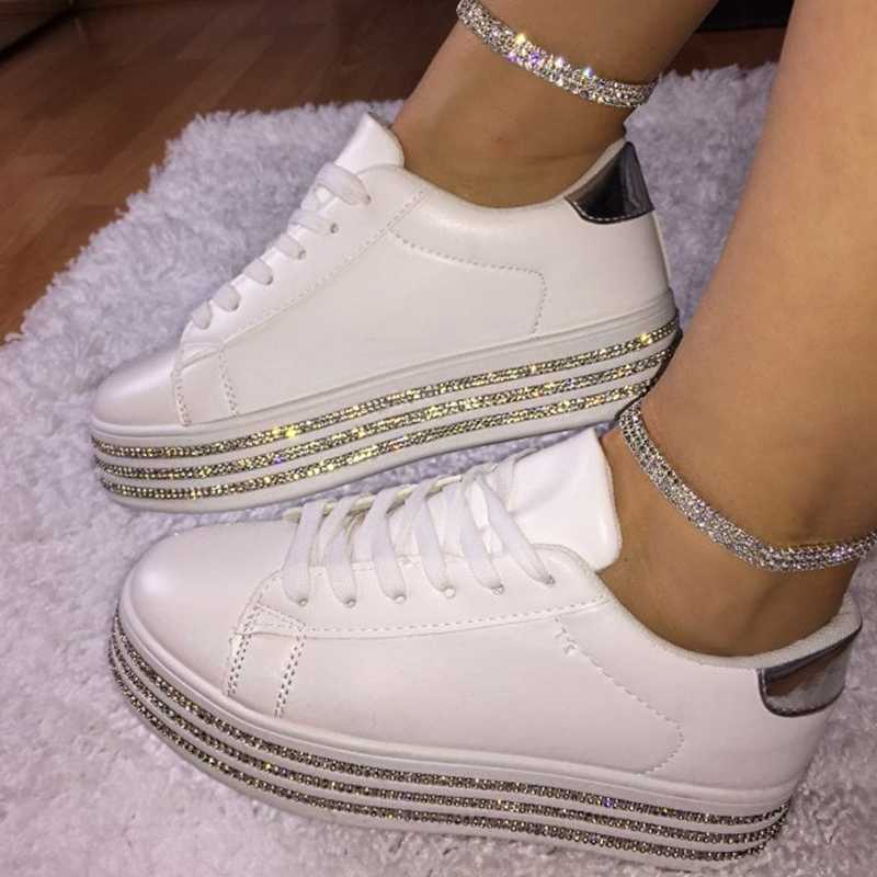 Sequin Vrouwen Sneakers Plateform Glitter Shinny Bling Schoenen Mode Casual Vrouw Lady Ballet Flats Sneakers Espadrilles Plus Size