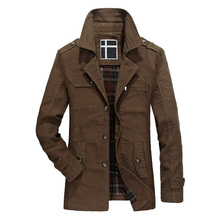 New Men Trench Coat Brand Fashion Silm Plus Size Long Trench Coat Men Overcoat Sobretudo Masculino Male Clothing 3XL AFPLQ806