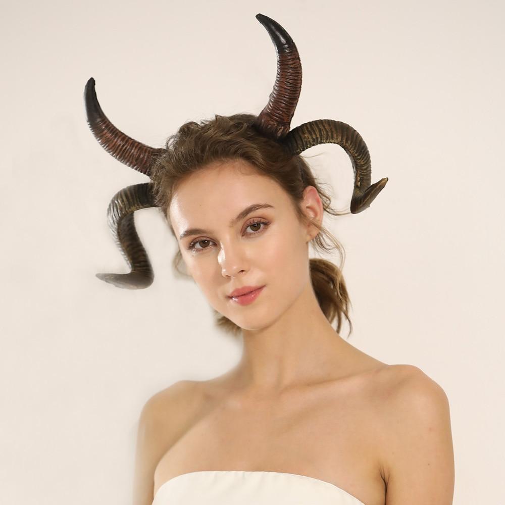 Antelope Sheep Horn Headband Cosplay Animal Antler Headwear Steampunk Halloween Carnival Masquerade Hairband Props