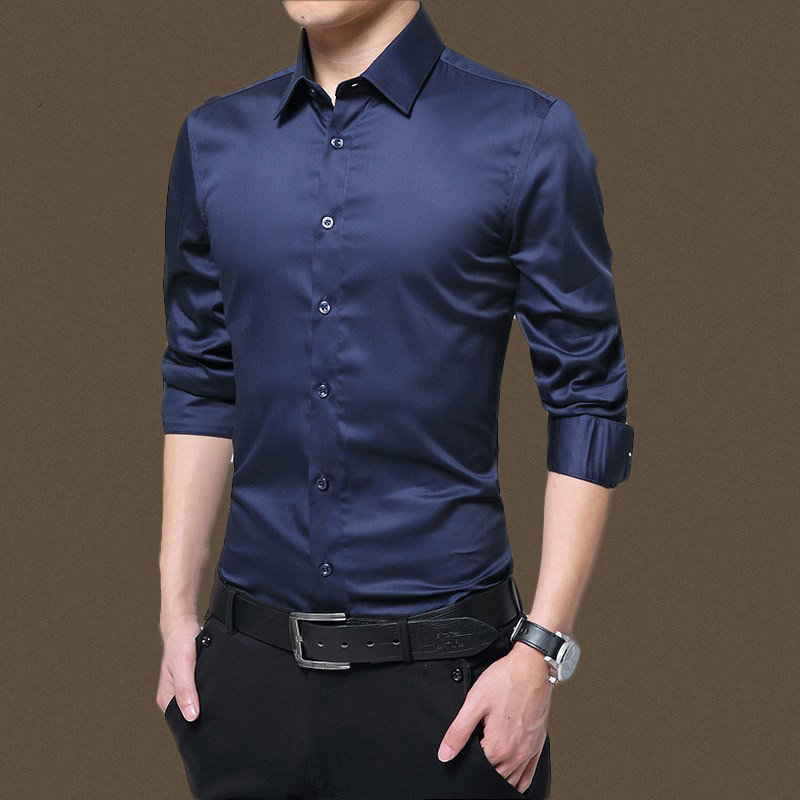 Mens Long Sleeve Shirt Fashion White Casual Solid Color Fashion Business Design Fabric Soft Comfortable Men Business Dress Slim