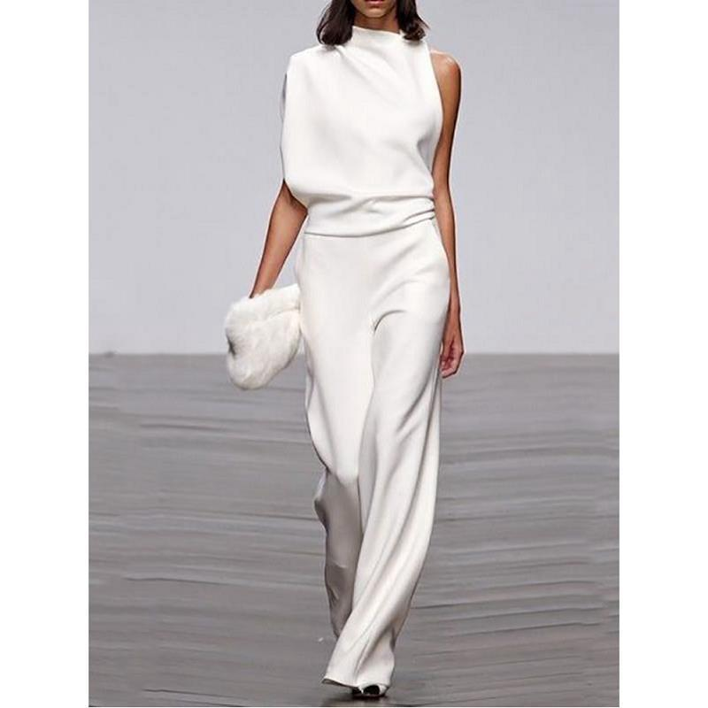 Women Jumpsuits 2019 Fashion Ladies Solid Rompers Party Clubwear Playsuits Wide Leg One Shoulder Sashes Jumpsuit Long Trousers