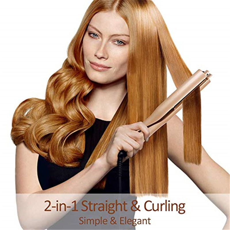 Gold 2in1 Straightening Hair Curler Curling Mestar Iron Pro Automatic Rotating Roller Heating Ceramic Curling Iron Magic Styling