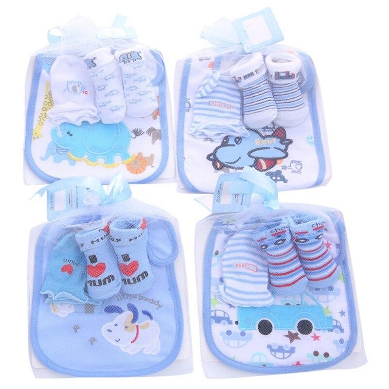 Newborn Baby Boy Kids Cartoon Bibs Gloves Set Cartoon Soft Anti-slip Socks Infant Anti Scratch Cotton Gloves Set With Bibs