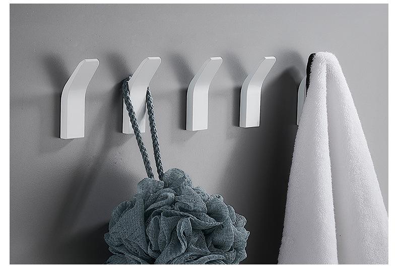 Hf93f8a7fdab14da4bf515ba2ac5eb88aK - Perforated Black-Free Clothes Hooks Alumimum White Wall Hanging for Bathroom Bedroom Modern Wall Hanger Hook Bath Accessories