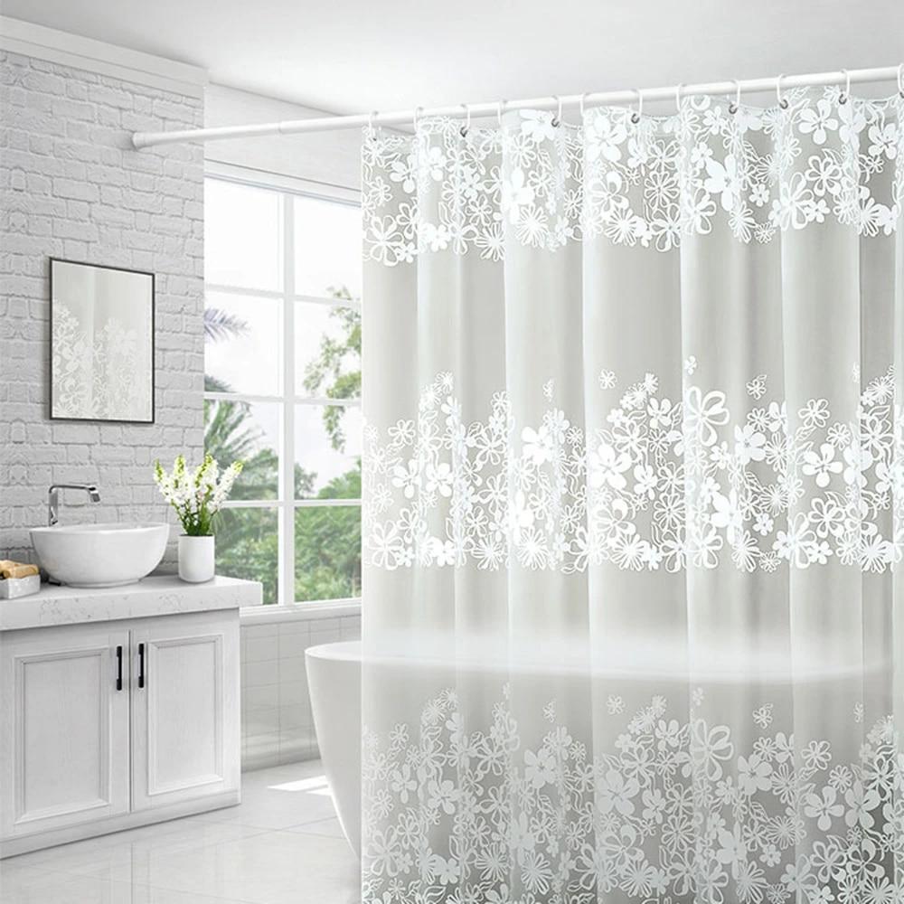 1pc modern bathroom shower curtain set extra long peva with hooks white 2 sizes
