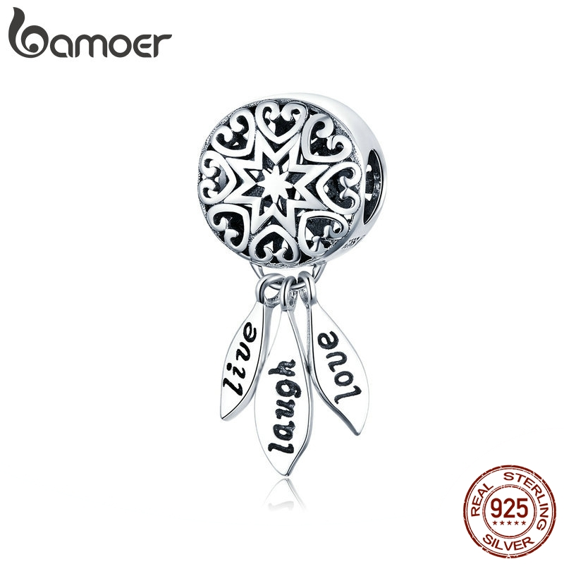 BAMOER Hot Sale Genuine 925 Sterling Silver Life Dream Catcher Pendant Charms fit Bracelets & Necklaces Vintage Jewelry SCC1128