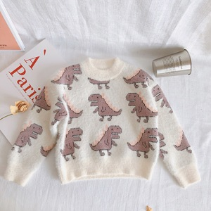 Image 5 - 2019 Autumn and Winter New Arrival Korean style cotton dinosaur pattern all match thickened casual sweater for sweet baby girls