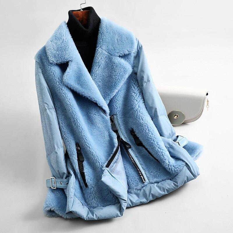 Coat Fur Real Female Sheep Shearling Fur Down Jacket 2020 Winter Jacket Women Korean Wool Coats Abrigo Mujer MY3549 S