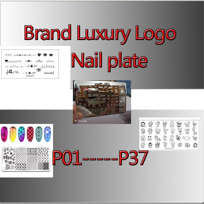 2020new с роскошным фирменным логотипом ногтей пластины для стемпинга (6x12 липкого слоя) Штамповка пластин дизайнер для штамповки ногтей Платея...