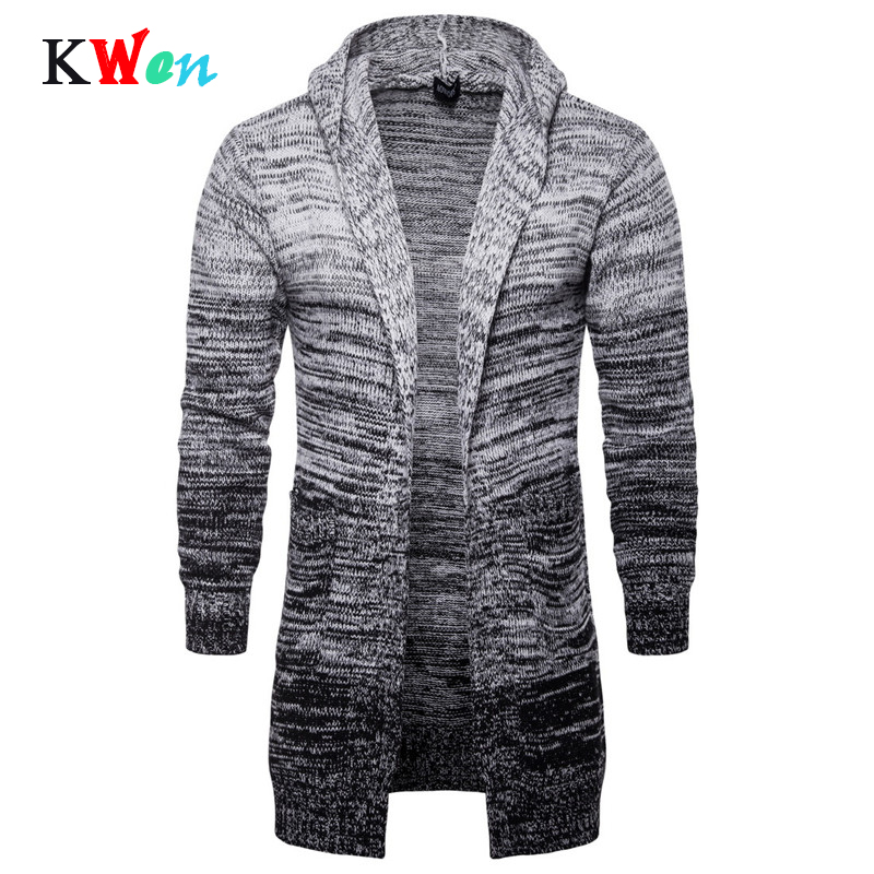 Fashion Men's Thicken Knit Hooded Cardigan Casual Men's Long Gradient Gray Slim Sweater Coats For Male Autumn Winter