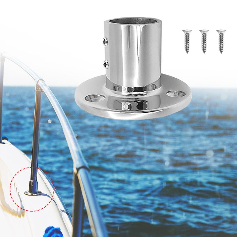 Image 3 - 1 Set 25mm /1″ 90 Degree Round Stanchion Base 316 Stainless Steel Boat Hand Rail Fitting For Sailboat & Powerboat Railing Etc-in Marine Hardware from Automobiles & Motorcycles
