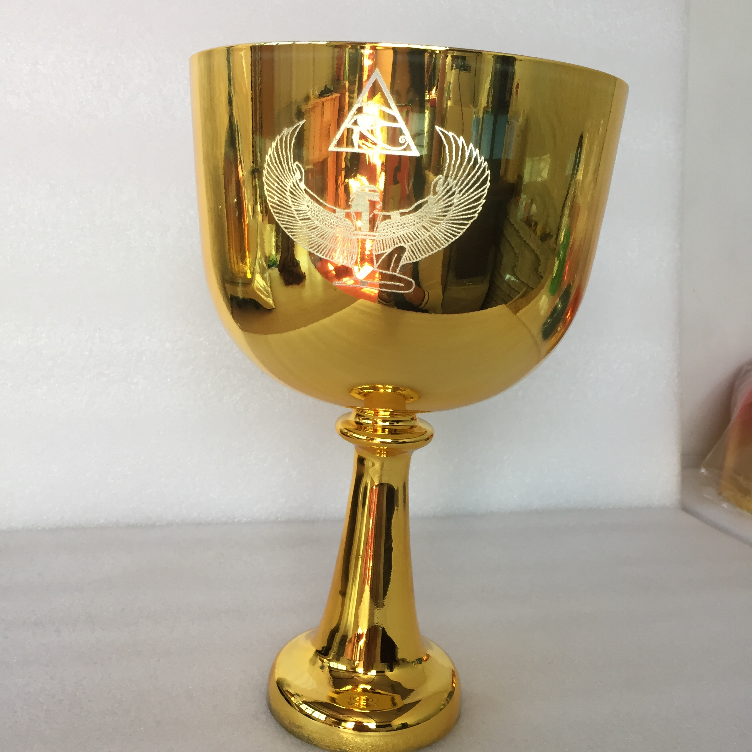 3rd Octave Golden Chalice With ISIS Design In  Perfect B Note In 432hz For Sound Healing.