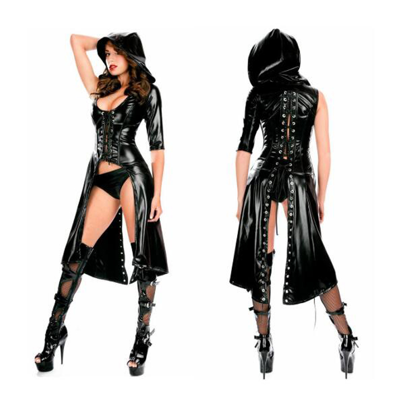 Hot Night Club Sexy Glitter Faux Leather Robes Black Cape Coat With Hat,adult Performance Clothes With Underpants Stage Wear