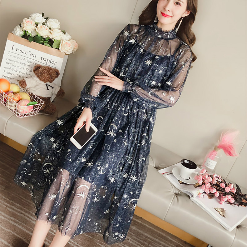 2020 Spring Sexy Transparent Long Sleeve Sheer Mesh Dresses Women Sweet Star Embroidery Long Mesh Dresses Two Pcs Set Dresses