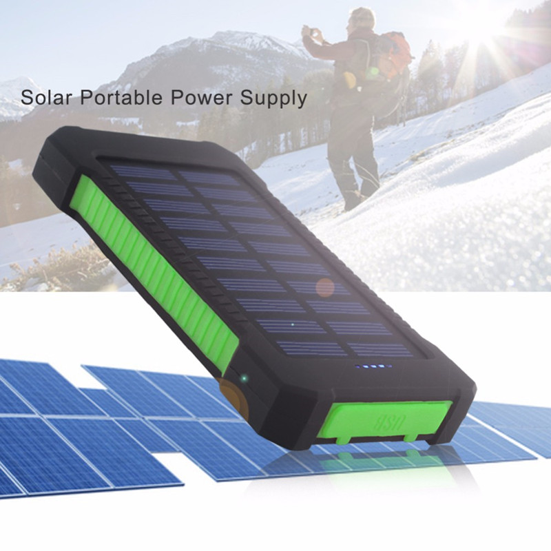Top <font><b>Solar</b></font> <font><b>Power</b></font> <font><b>Bank</b></font> <font><b>Waterproof</b></font> <font><b>30000mAh</b></font> for Xiaomi Smartphone with LED Light <font><b>Solar</b></font> Charger USB Powerbank Ports For iphone 8 X image