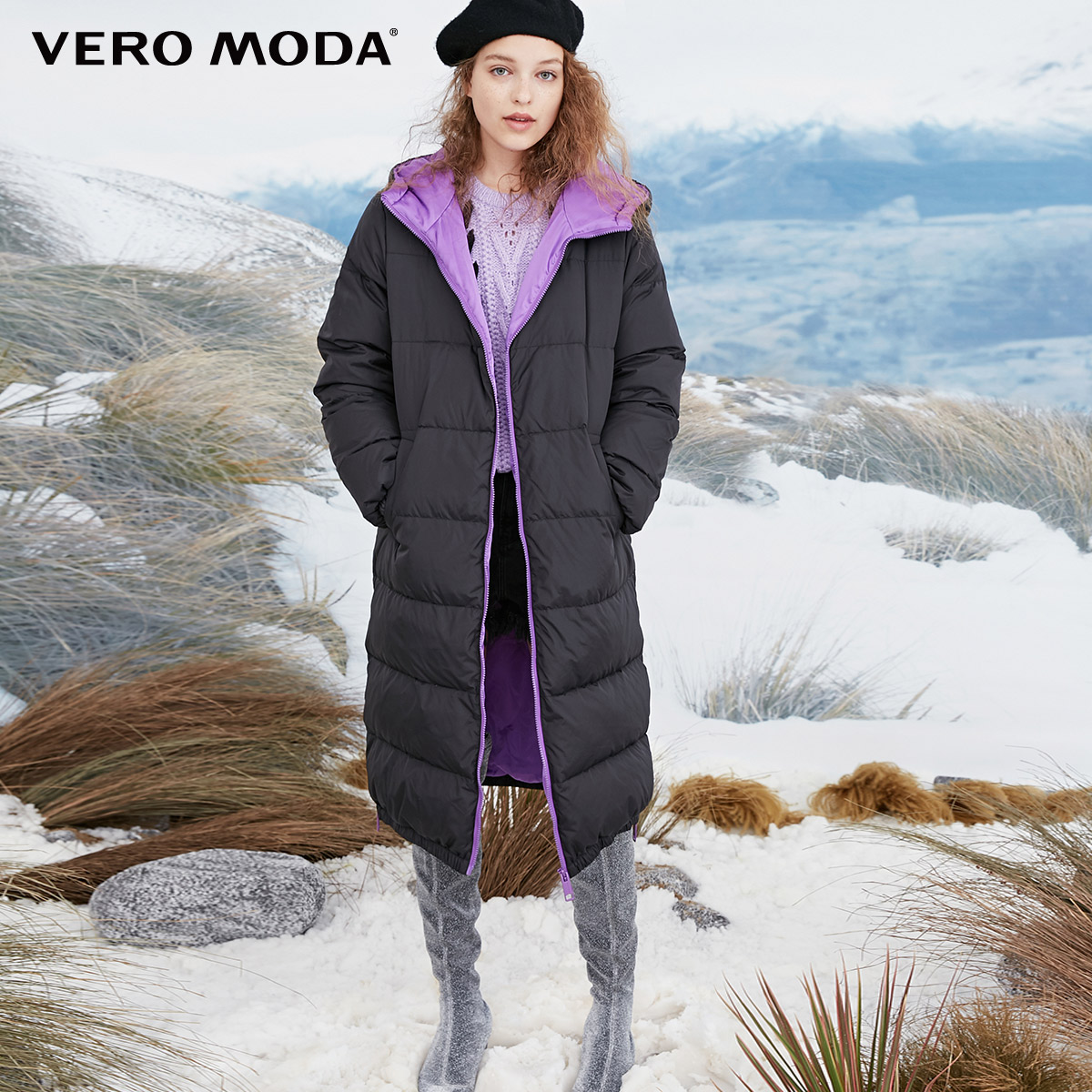 Vero moda 여성의 흰색 오리 후드 긴 두꺼운 다운 재킷  318412545-에서다운 코트부터 여성 의류 의  그룹 1