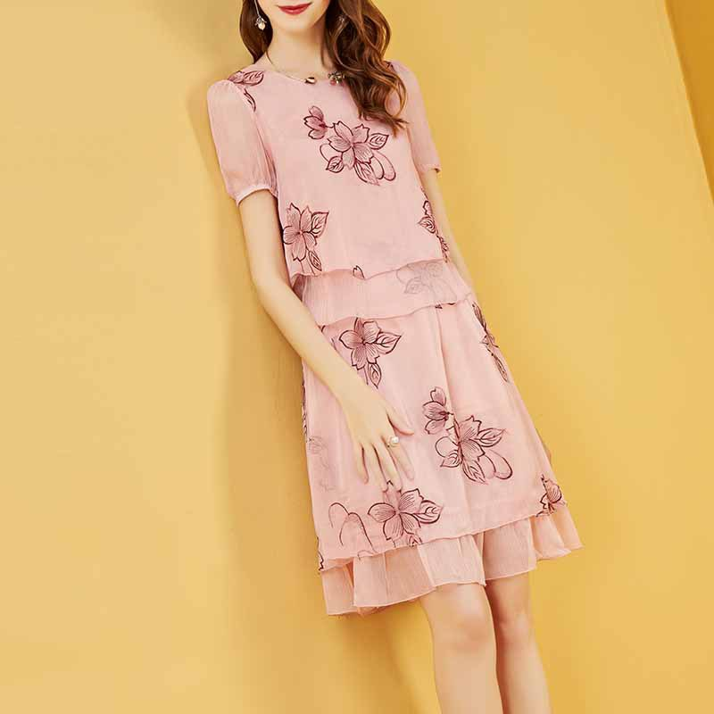 WOMEN'S Dress Elegant Embroidered Chiffon Blouse Tops Skirt Embroidery Two-Piece Set Summer Dress 2019 New Style Hot Selling