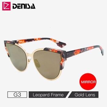 DENISA Vintage Cateye Sunglasses Women Luxury Brand Blue Mirror Sun Glasses Retro Black Shades For Women UV Protection G9018 8