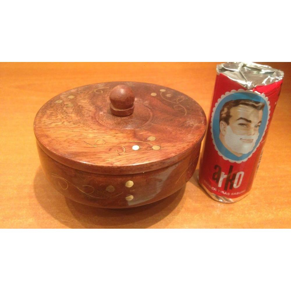 Wooden Shaving Bowl With Lid For Shaving Brush + Gift Soap Arko ,decorated Wood