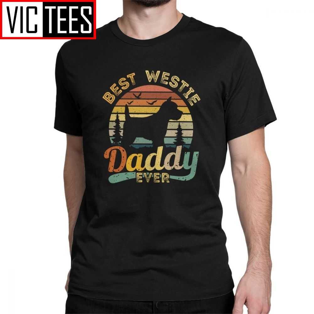 Männer Beste West Highland White Terrier Papa Immer Vintage Westie T Shirts Baumwolle Spaß T-Shirt Hund Liebhaber T Kleidung