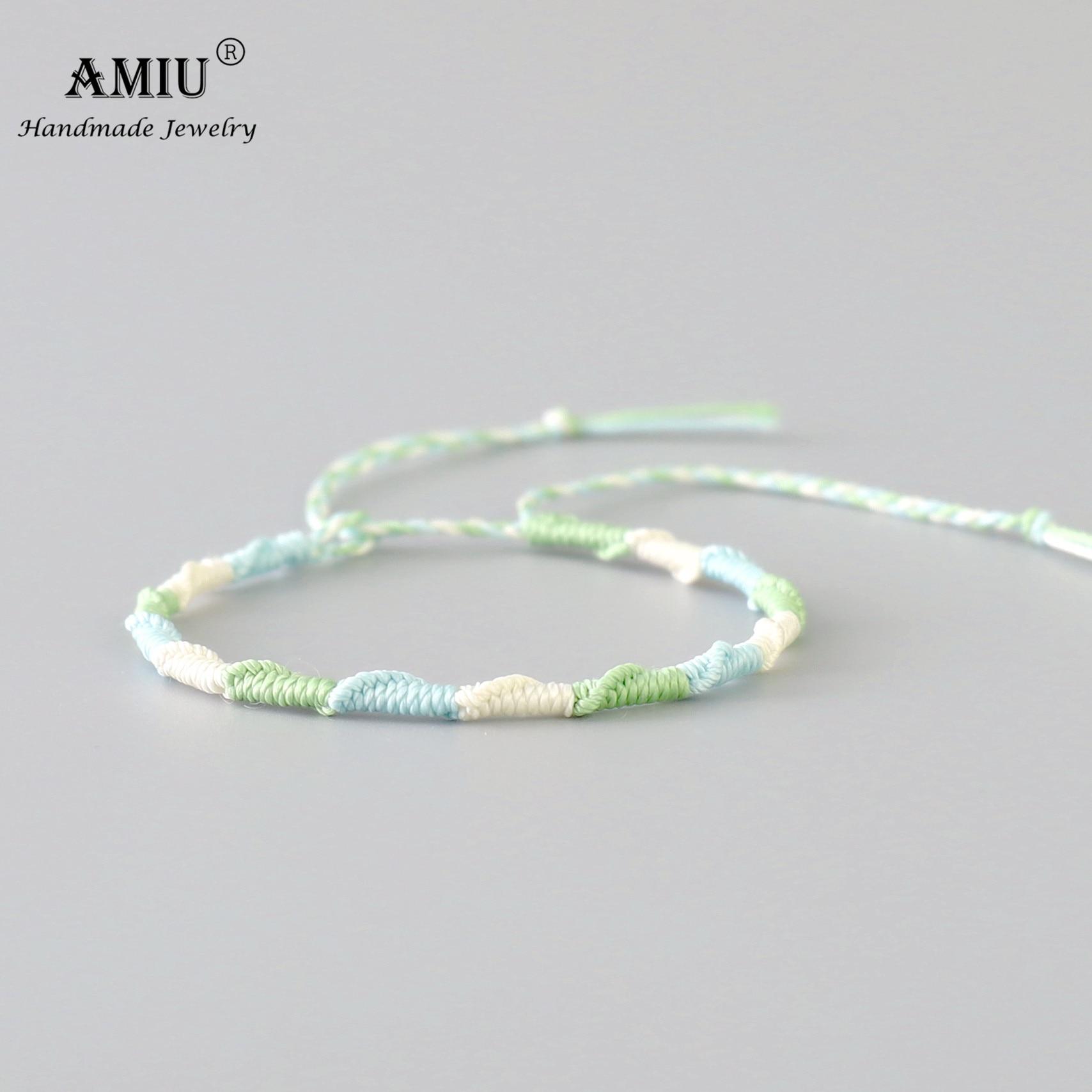 AMIU Handmade Waterproof Wax Thread Woven Wrap Bracelet Simple Rope Knot Bracelet Friendship Bracelet for Men and Women