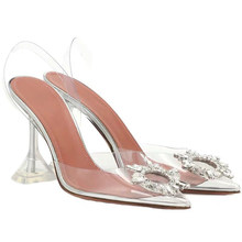 Women Pumps Sexy Transparent Rhinestone Pointed High Heel Shoes Woman Casual Shoes Ladies Stiletto Party Wedding Shoes ggxSa(China)