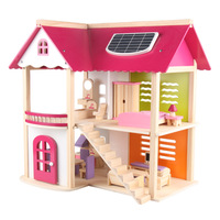 Pink Princess Doll House Villa Wooden House Simulation House Game House DIY Puzzle Assembled Wooden Toy Girl Gift