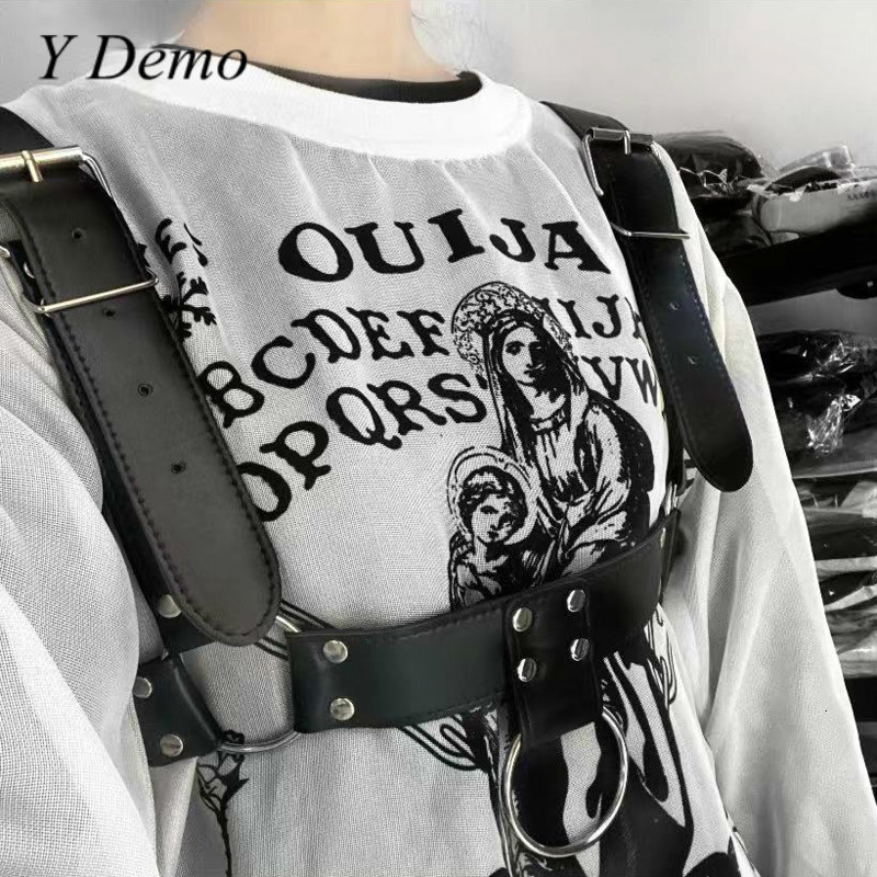 Punk Women Circles Rivets Belt Shoulder Strap Adjustable Buckles Belt Accessory