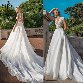 Ivory Lace Wedding Dresses Sexy V Neck Cap Sleeves A Line Chiffon Illusion Back Bridal Gowns Plus Size Custom Made Long Tail