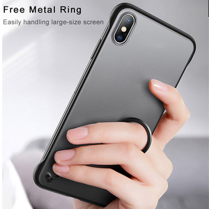 Image 5 - Frameless Case For iPhone 7 Case Transparent Matte Hard Phone Cover For iPhone XR XS Max X 7 6 6s 8 Plus With Finger Ring Case