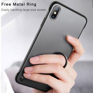 Image 5 - ללא מסגרת מקרה עבור iPhone 7 מקרה שקוף מט קשיח טלפון כיסוי עבור iPhone XR XS מקסימום X 7 6 6s 8 בתוספת עם אצבע טבעת מקרה