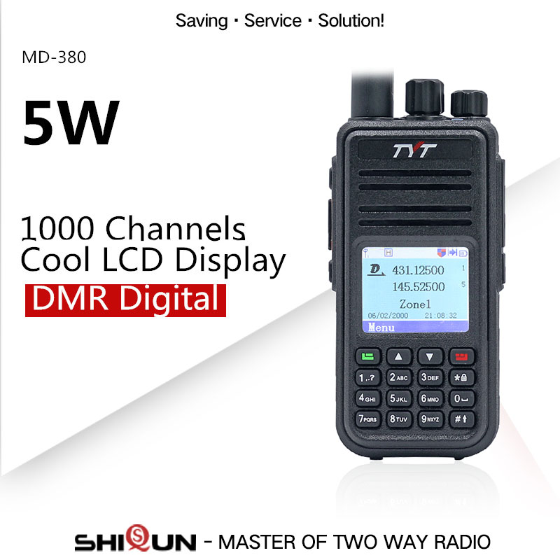 TYT Walkie-Talkie Dmr Radio Digital Motorola Baofeng Dmr MD-380 Uhf Vhf Dual-Band