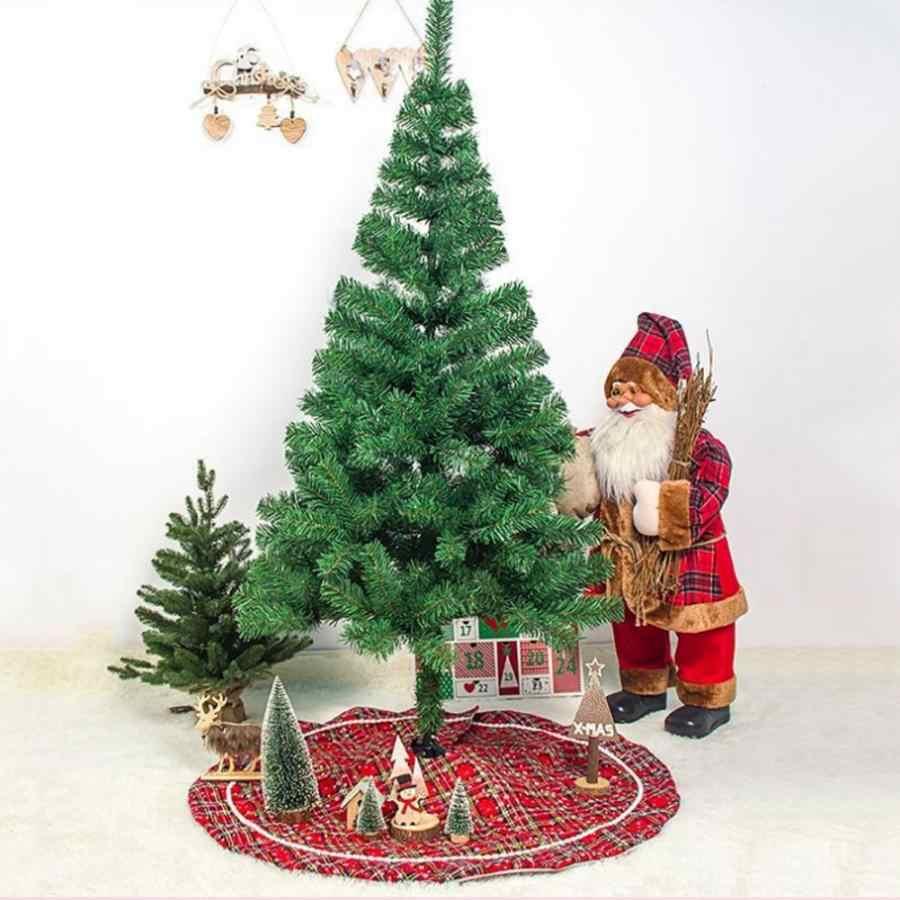 100cm Christmas Tree Skirt Cloth Plaid Snowflake Merry Christmas Tree Skirt Floor Mat Cover Carpet Xmas Tree  Gift Storage
