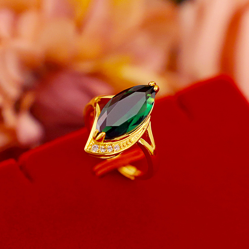 Korean Fashion Gold Ring for Women for Wedding Engagment Emerald Gemstone Rings Adjustable 14k Yellow Gold Statement Jewelry
