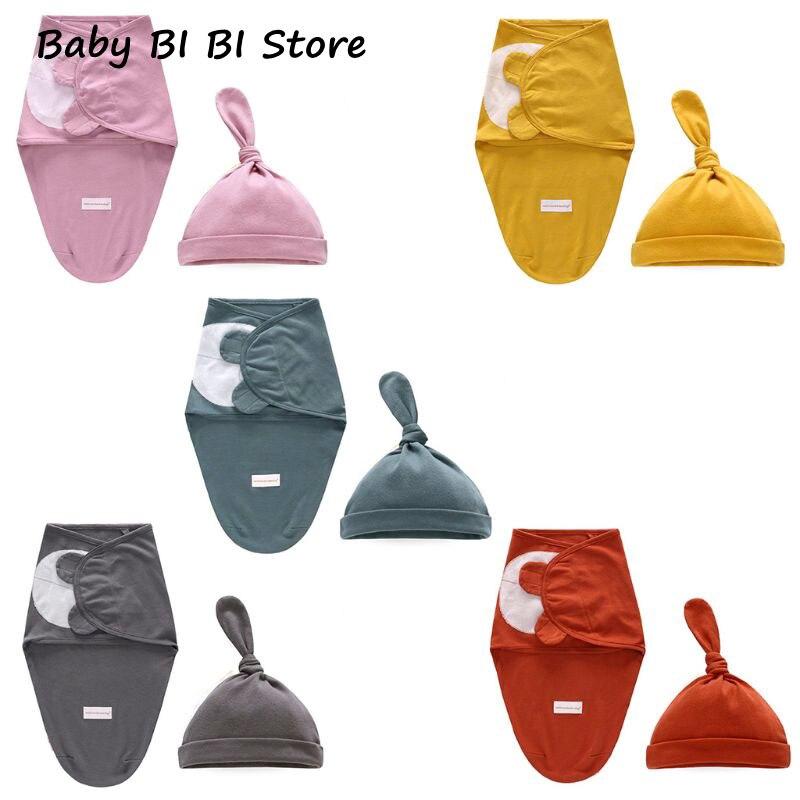 2 Pcs/set New Infants Baby Cotton Wrap Sleeping Bag Hat Newborn Girls Boys Solid Color Swaddle Cap Set