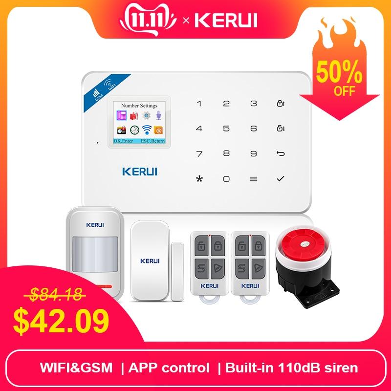 KERUI W18 1.7 Inch TFT Screen WIFI GSM Home Burglar Security Alarm System Motion Detector APP Control Fire Smoke Detector Alarm