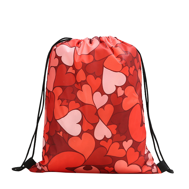 Drawstring Backpack Fashion Women 3D Printing Travel Softback Men Casual Bags Unisex Women's Shoulder Drawstring Love Knapsack