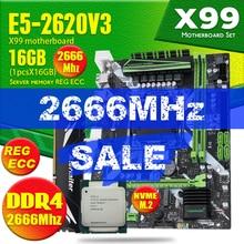 Huananzhi X99 8M F d4 conjunto de placa mãe com xeon e5 2620 v3 LGA2011 3 cpu 1 pçs x 16gb = 16gb 2666mhz ddr4 memória reg ecc ram