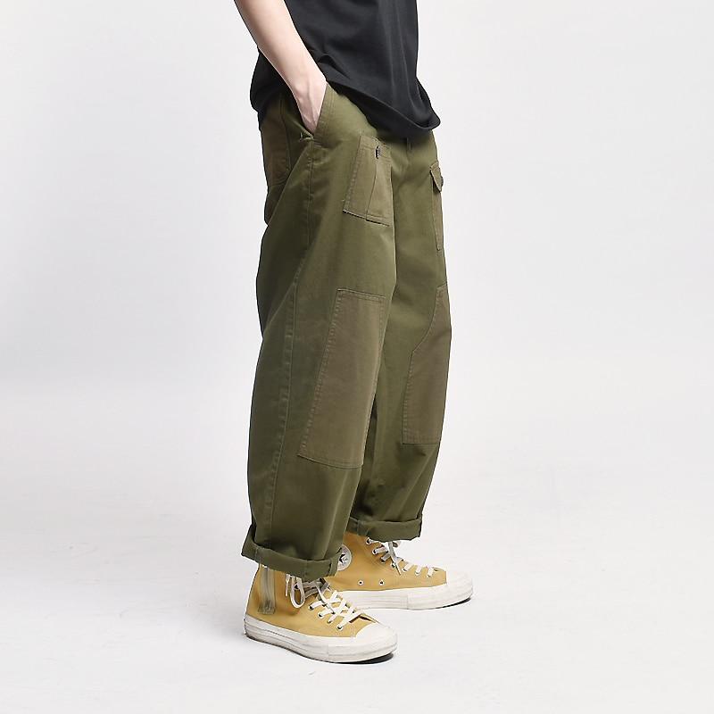 LD Mens Elastic Waist Straight Leg Loose Solid Crop Pants Trousers