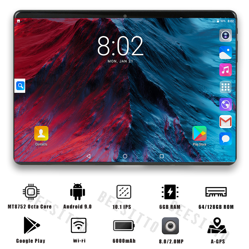 YAHU 2020 Newest 10 Inch Tablet Android 8.0 Octa Core 6GB RAM 128GB ROM 3G 4G FDD LTE Wifi Bluetooth GPS Phone Call Tablet Pc