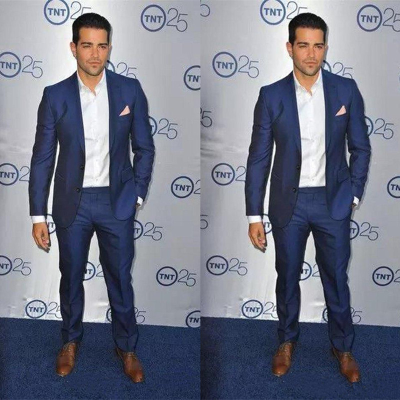 Royal Blue Blazer Masculino Slim Fit Tuxedo For Groom Exquisite Mens Suits For Wedding Mens Prom Formal Wear (Jacket+Pants)