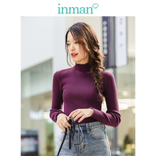 INMAN Winter New Arrival Minimalist Solid Color Flower High Collar All Match Inside Knit Wear Pullover Sweater