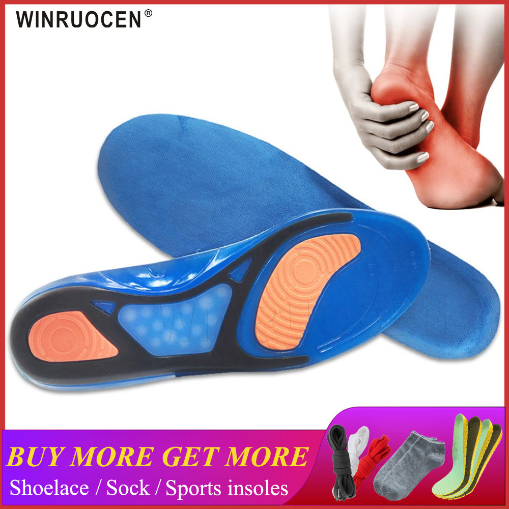 WINRUOCEN Silicon Gel Insoles High Quality Foot Care for Plantar Fasciitis Heel Spur Running Sport Insoles Shock Absorption Pads image