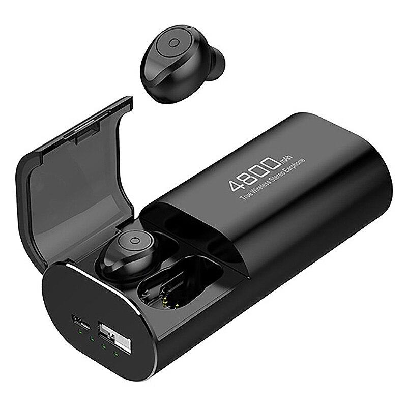 Fones de ouvido sem fio bluetooth 5.0 com caixa de carregamento de 4800 mah [como banco de potência] com microfone usb tipo c cabo tws fone de ouvido estéreo in-ear