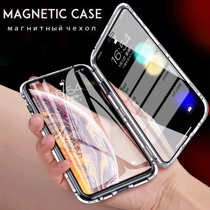 <font><b>360</b></font> Magnetic Adsorption Case For iPhone XR XS MAX X 8 Plus 7 Full Cover Front Back Tempered Glass For iPhone 8 7 6 <font><b>6S</b></font> Plus Case image