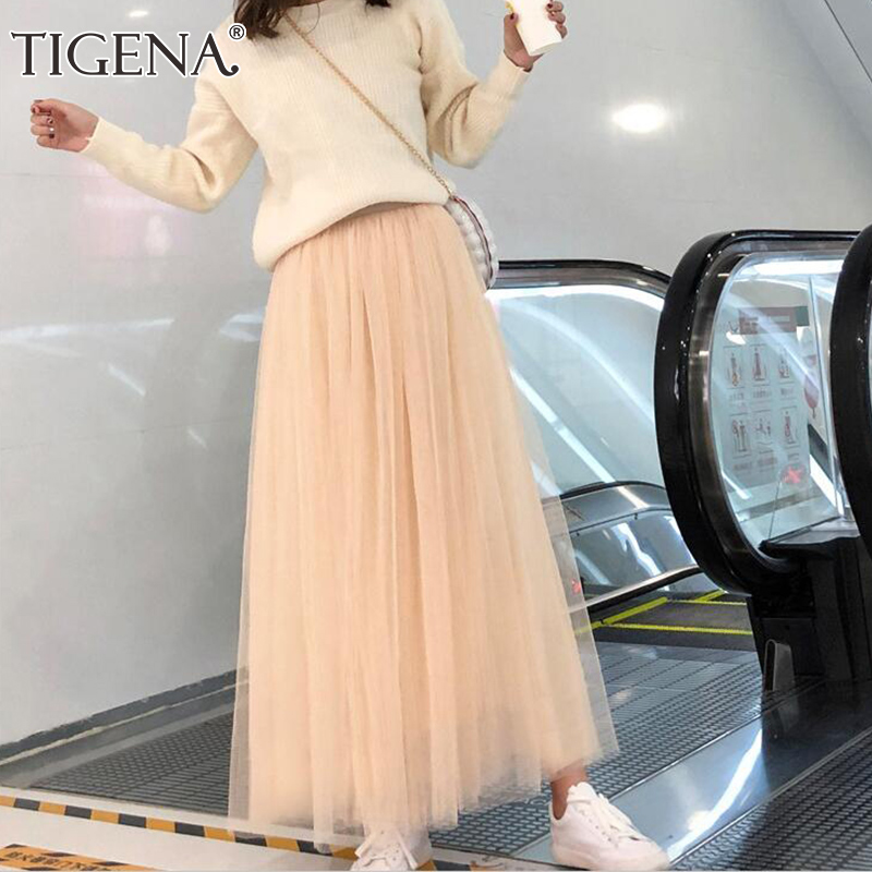 TIGENA 98cm Long Maxi Tutu Tulle Skirt Women Fashion 2020 Spring Summer Korean High Waist Pleated School Mesh Skirt Female